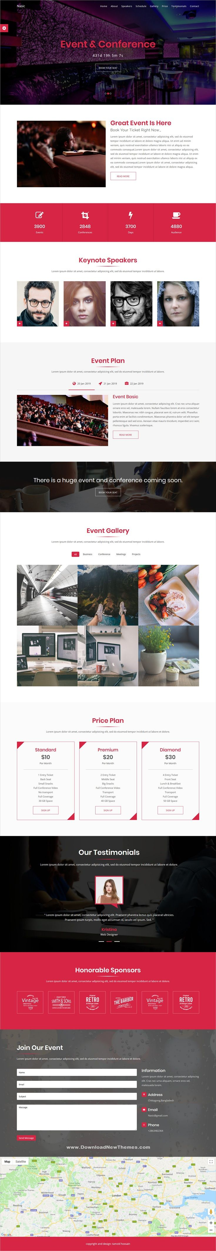 Nasic Event Conference Html5 Template Html5 Templates Event Website Templates