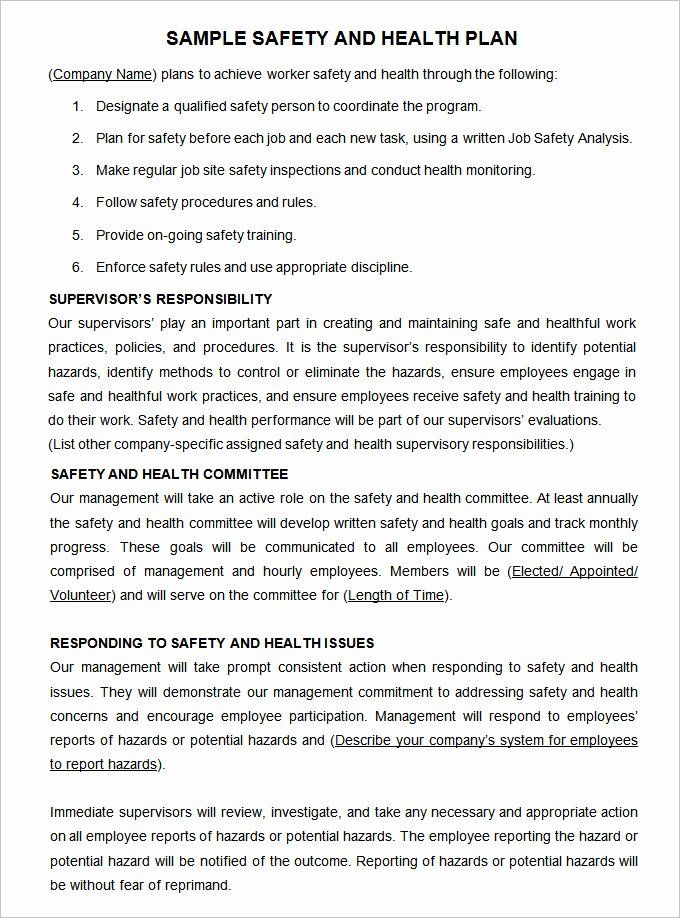 Site Safety Plan Template Awesome Construction Safety Plan