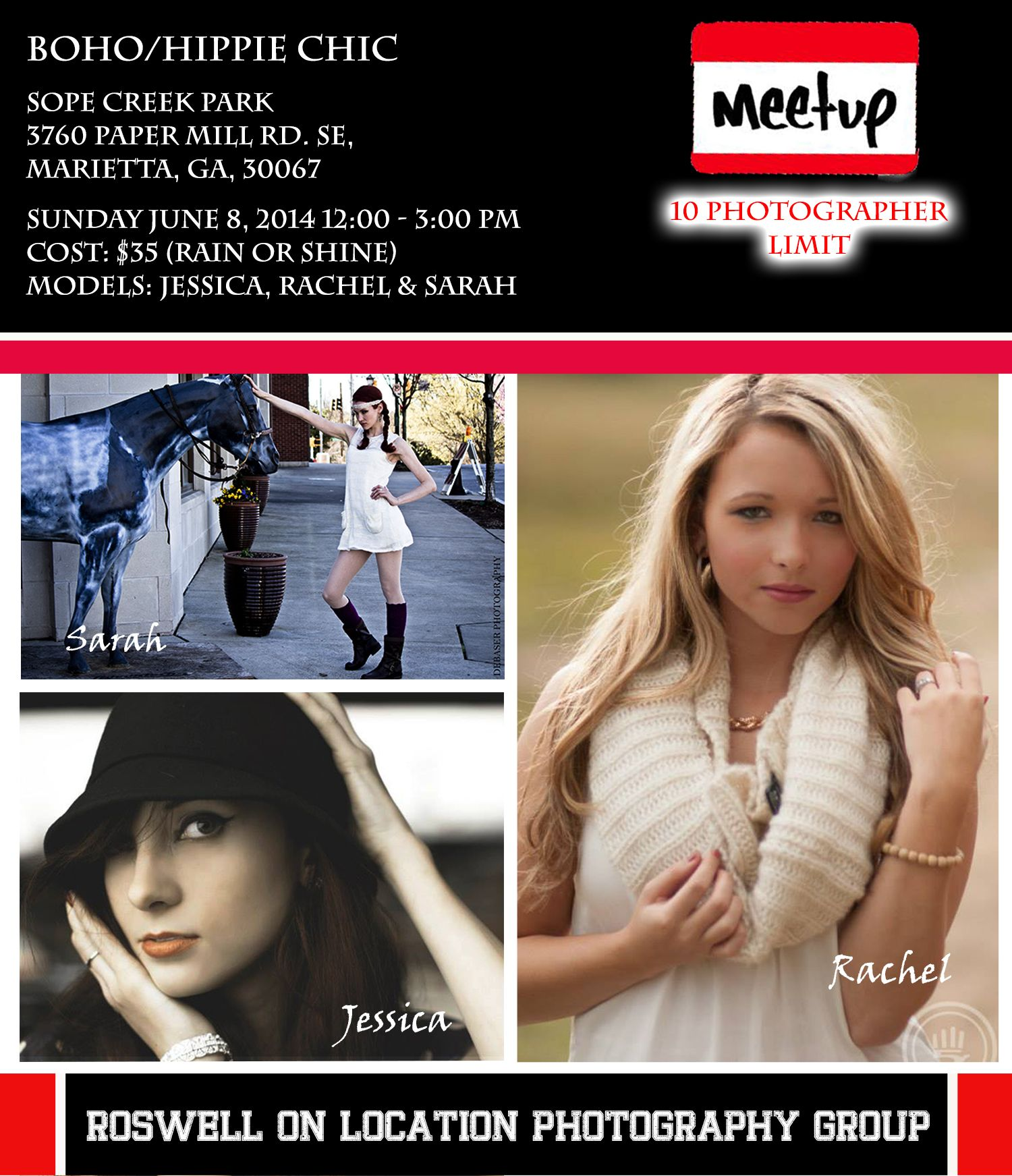 Next Meetup June 8th. Details...http://www.meetup.com/Roswell-On-Location-Photography/events/184460282/