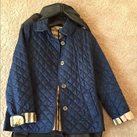 Navy Burberry Quilted Jacket Burberry Quilted Jacket Quilted