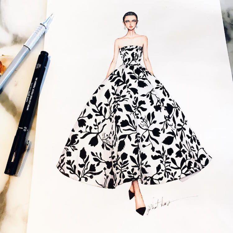 Fashion Designer Illustrates Gorgeous Gowns In Enchanting Detail In 2020 Fashion Illustration Sketches Dresses Fashion Illustration Dresses Fashion Sketches Dresses