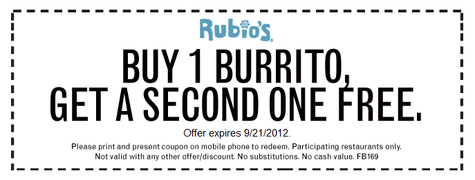 Rubios Deal Printable Coupons Coupons Burritos