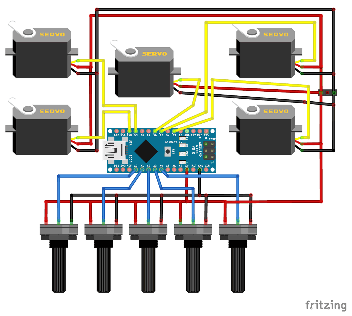 circuit diagram for record and play 3d printed robotic arm using arduino [ 1200 x 1076 Pixel ]