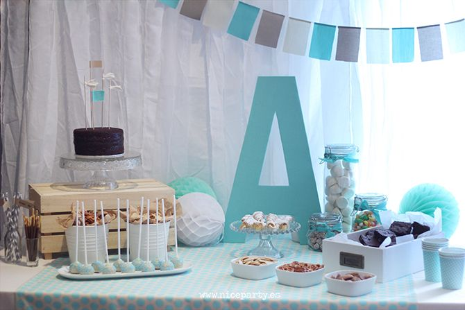 Nice party babyshower color mint mesa de dulces nice for Mesa baby shower nino