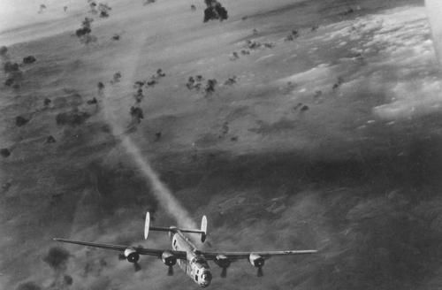 The plane of this photo is a 451st Bombardment's ship, 49th Bomb Wing, US Army Air Force. Based at Castelluccio Airfield, Foggia Airfield Complex, the 451st was one of the most decorated 15th Air Force's units, but also one of the most battered: 135 B-24s lost in 216 missions.