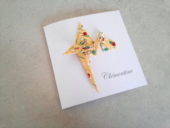 Faire part de naissance en origami fille garçon - carte double irisé cigogne origami jaune en papier japonais - fait main
