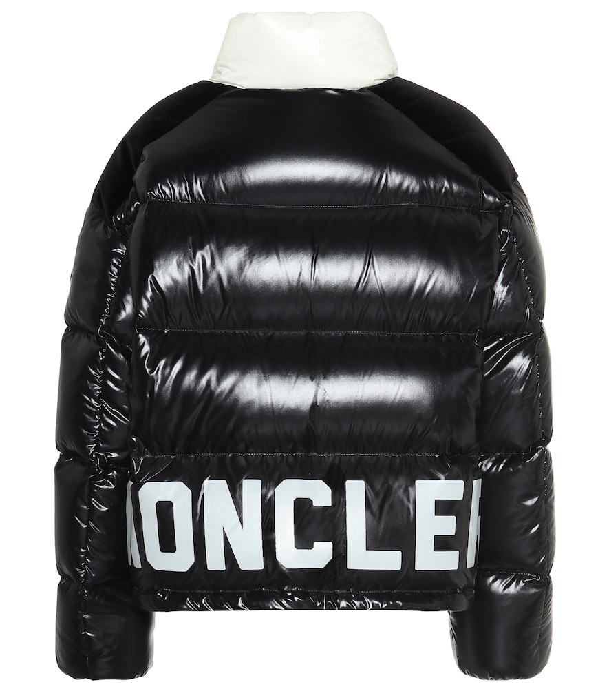 Moncler 'chouelle' Logo Print Contrast Collar Down Puffer
