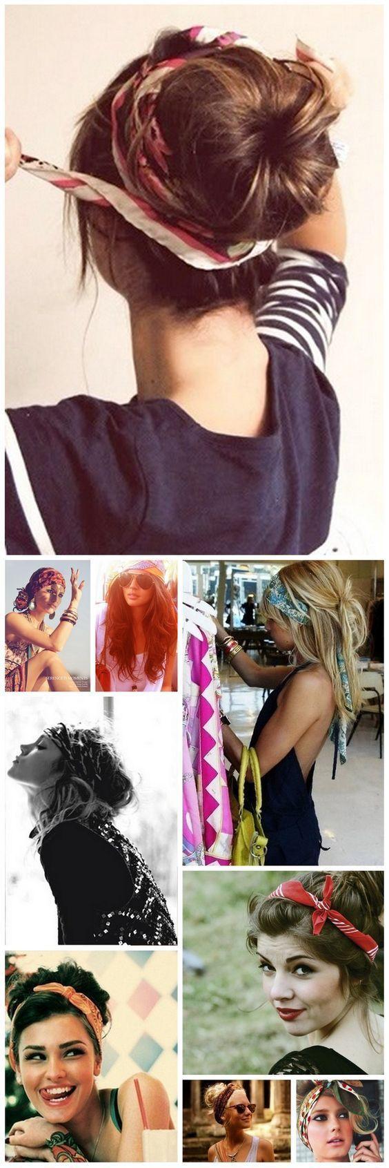 Friseur mit Schal, Kopfschmuck Langhaarschal und mittellangem Haar, … Se coif #coiffure