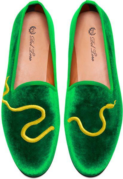 194b40645 Del Toro Green Prince Albert Green Velvet Slipper Loafers with Snake  Embroidery