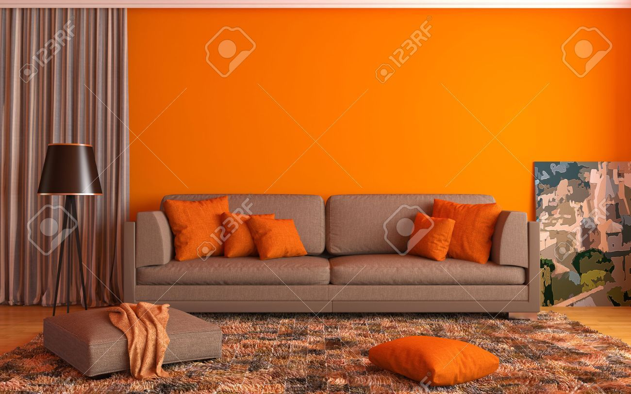 Interior With Brown Sofa 3d Illustration Wall Color Combination House Paint Interior Best Wall Colors #orange #accent #living #room