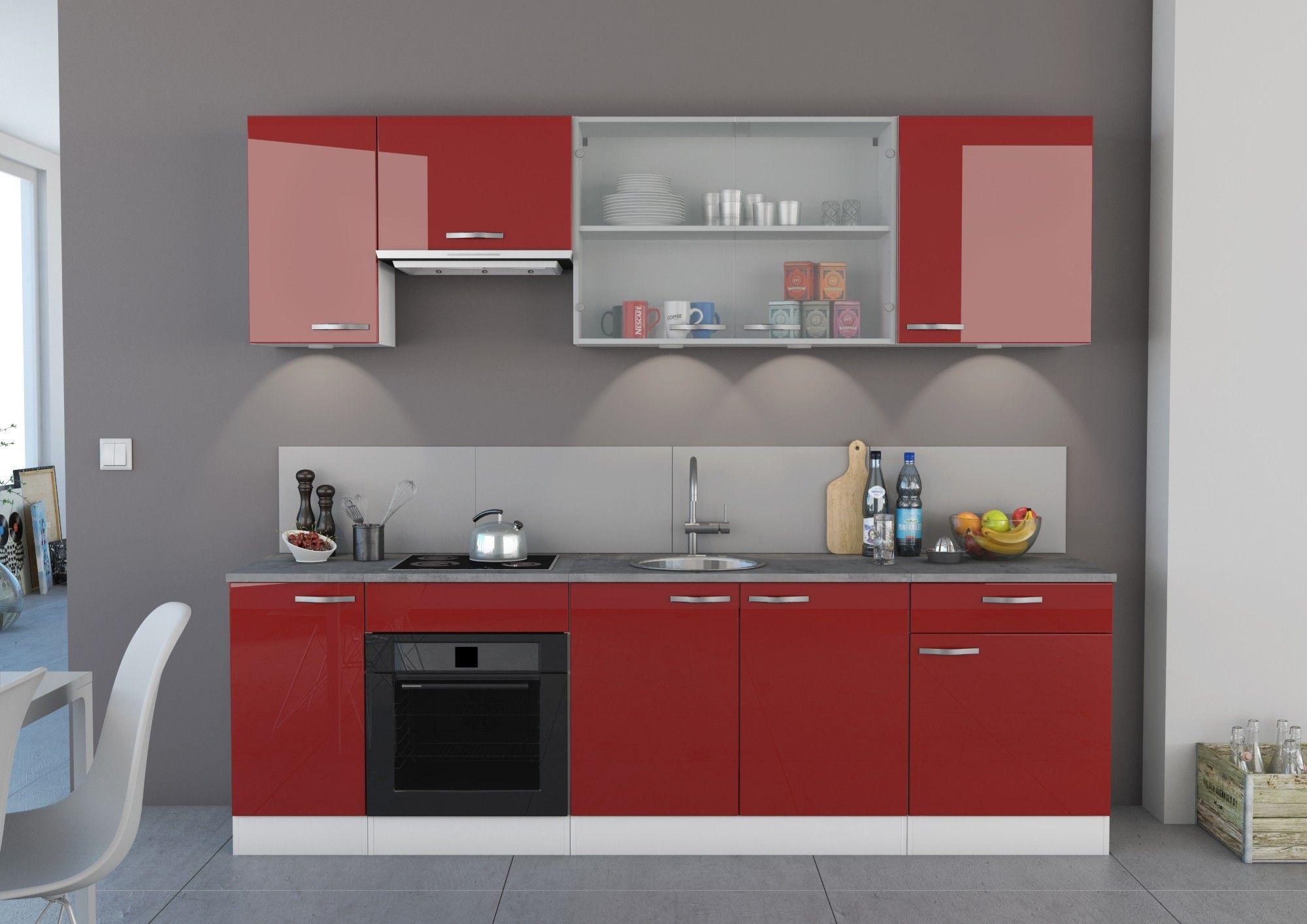 Meuble bas de cuisine contemporain 12 portes blanc mat/rouge
