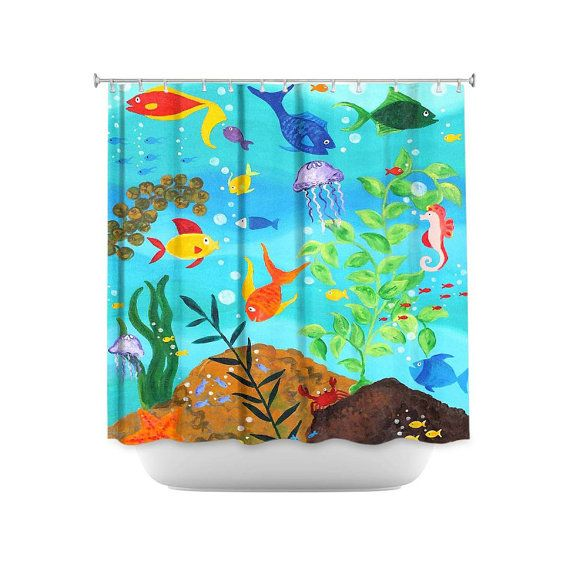 Fish Shower Curtain Happy Fish Colorful Tropical Fish Decor By
