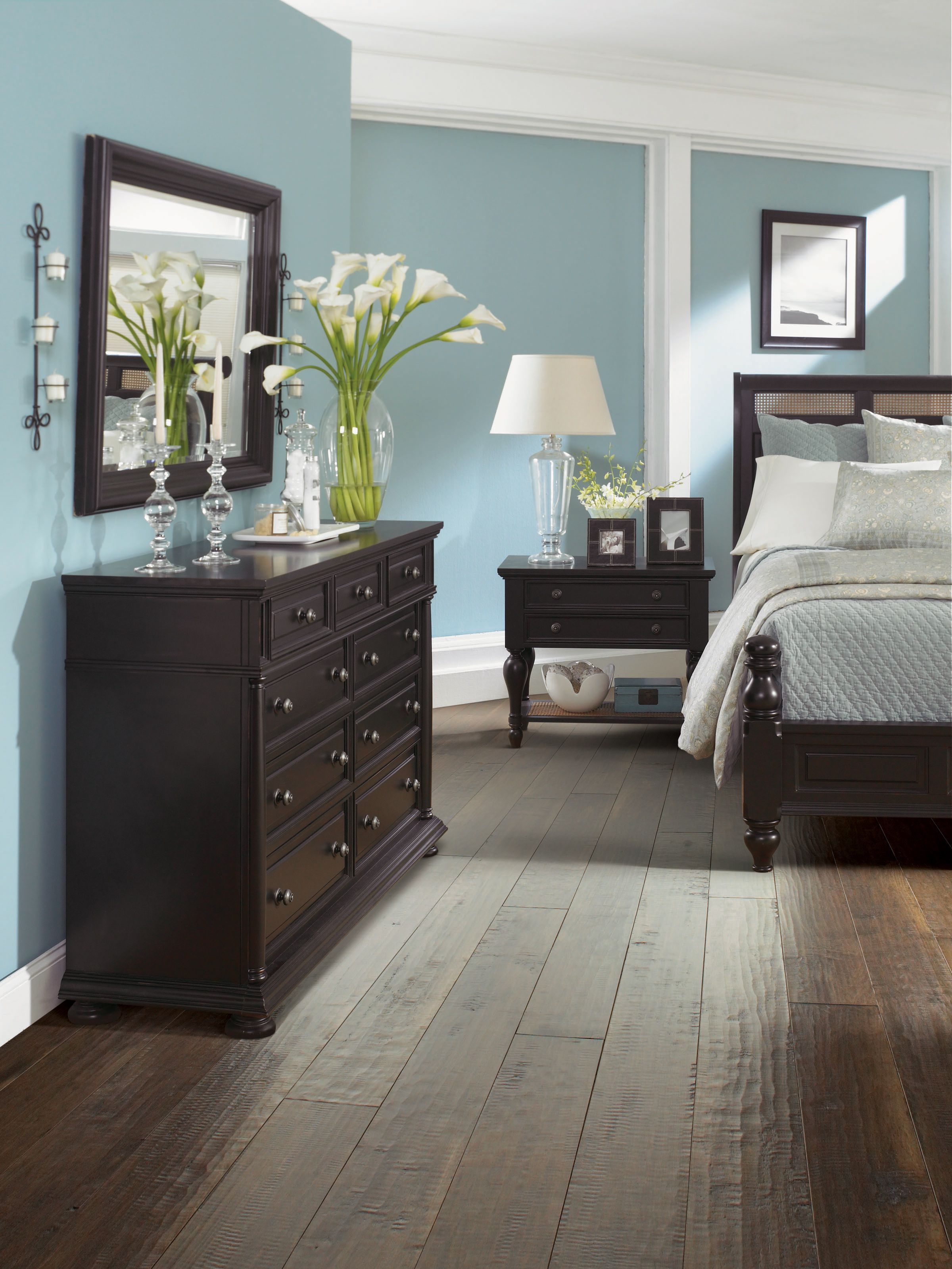 Soft Blue Wall Bedroom With Nice Storage Near Double Bed