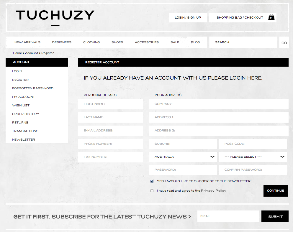Tuchuzy - Register Signup Page