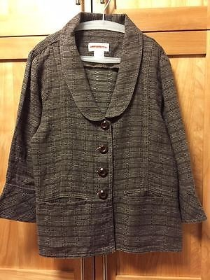23.00$  Buy now - http://vifxo.justgood.pw/vig/item.php?t=msst3515192 - SOLITAIRE Women's Jacket, 3/4 Sleeves, Brown Pattern, 100% Linen, Size Small