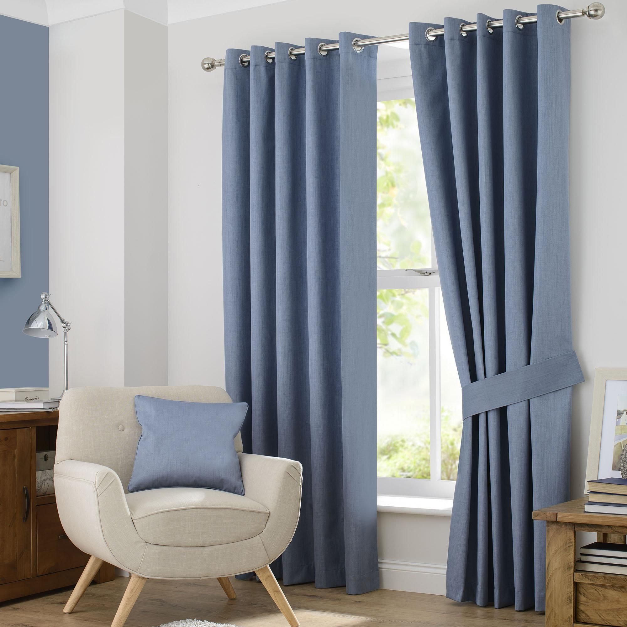 Pale Blue Blackout Eyelet Curtains