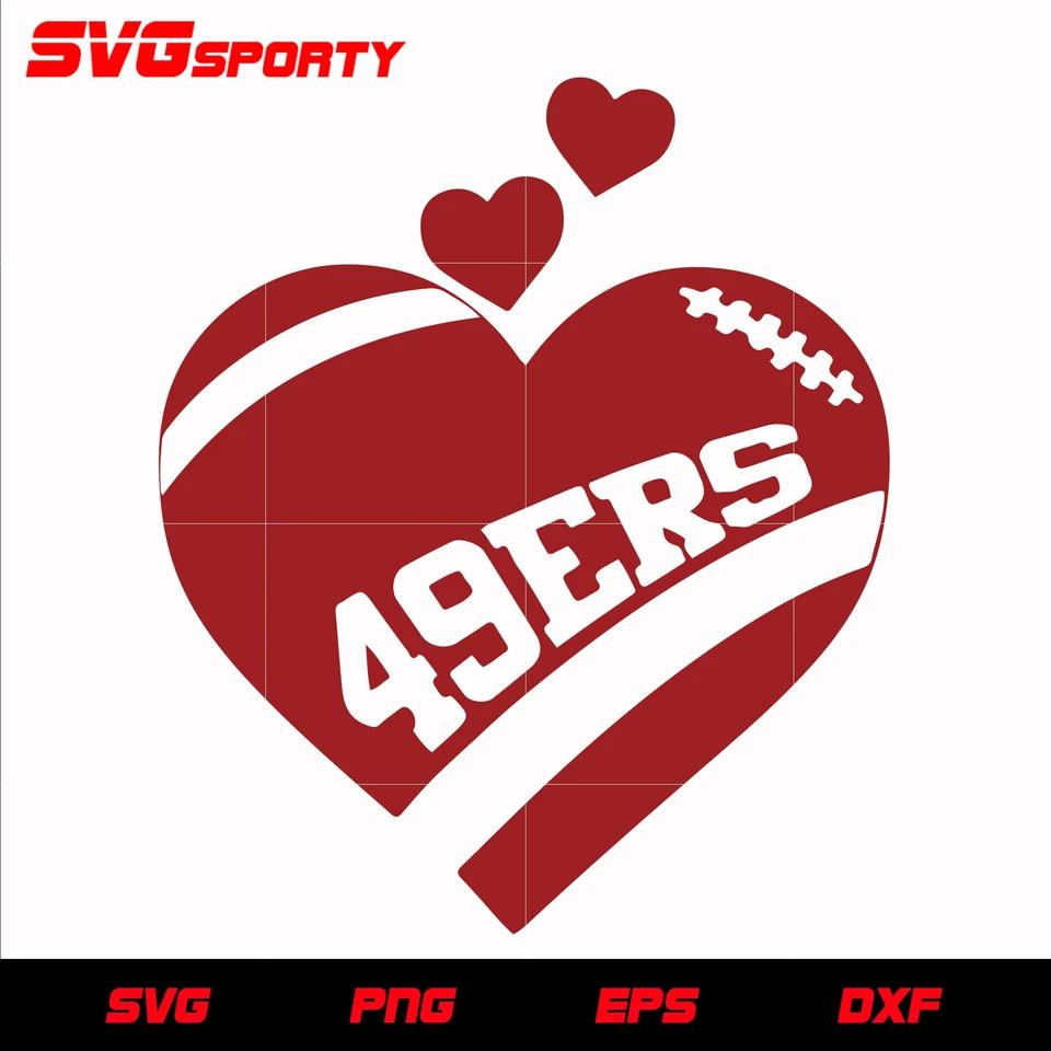 San Francisco 49ers Heart svg, nfl svg, eps, dxf, png