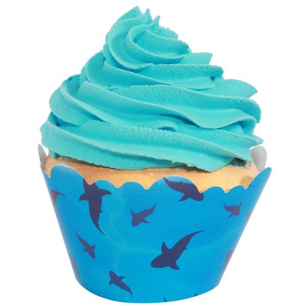 Shark Birthday Cupcake Wrappers (12)