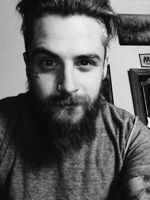 cute guy with a beard and nose ring well helloo there