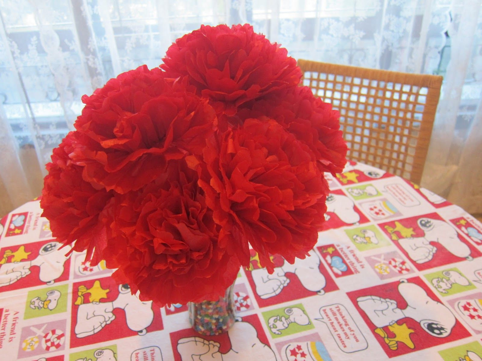 Red Tissue Paper Flowers For Popcorn Box Centerpiece Taylors Baby