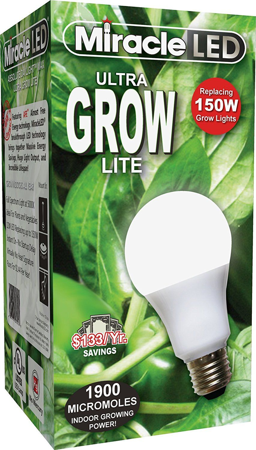 Miracle Led Commercial Hydroponic Ultra Grow Lite Replaces Up To
