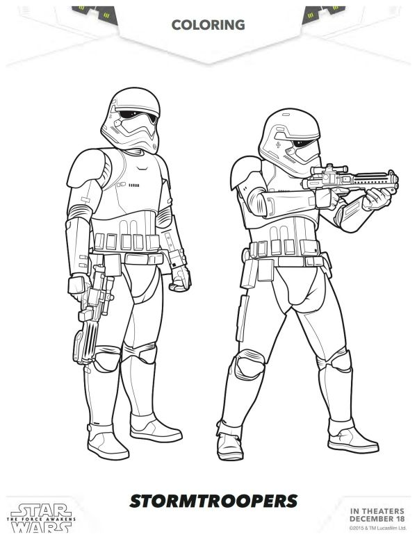 Star Wars The Force Awakens Stormtroopers Coloring Page Mama Likes This Star Wars Coloring Book Star Wars Coloring Sheet Star Wars Activity Sheets