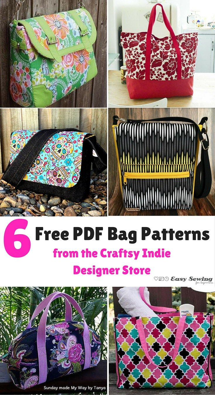 6 Free Pdf Bag Patterns From The Craftsy In Designer Easy Sewing For Beginners