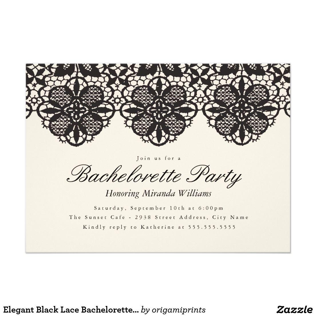 Elegant Black Lace Bachelorette Party Invitation | Hen nights, Party ...