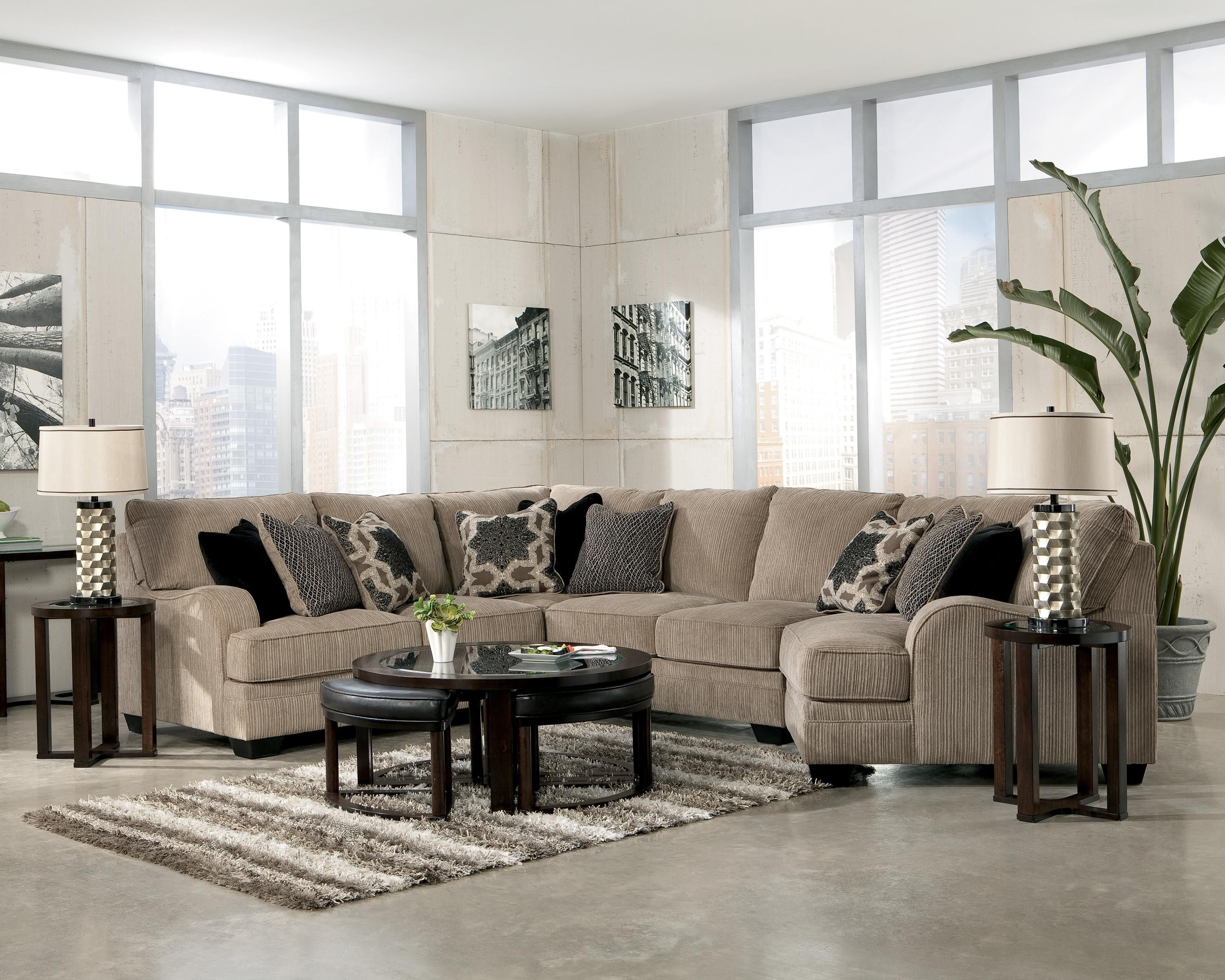 Signature Design By Ashley Furniture Katisha   Platinum 4 Piece Sectional  Sofa With Right Cuddler