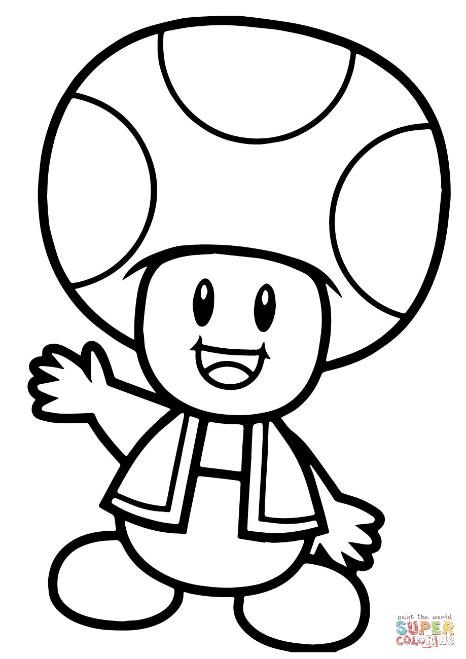 Super Mario Bros Toad Coloring Page