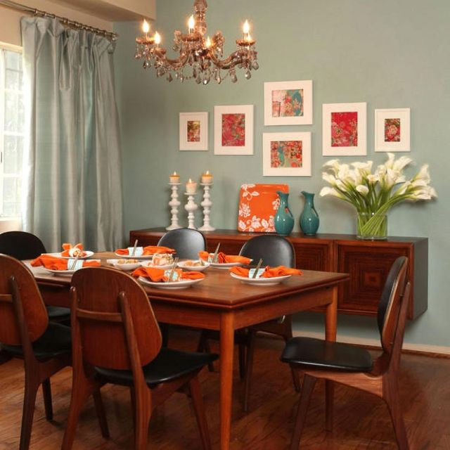Dining Room Colors Grubb Blue Orange I Just Really Like The Mounted Buffet Table On Wall And Of Course Calla Lilies
