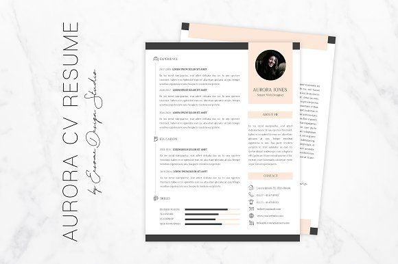 1 Page CV Resume Template by Eesome Design Studio on @creativemarket