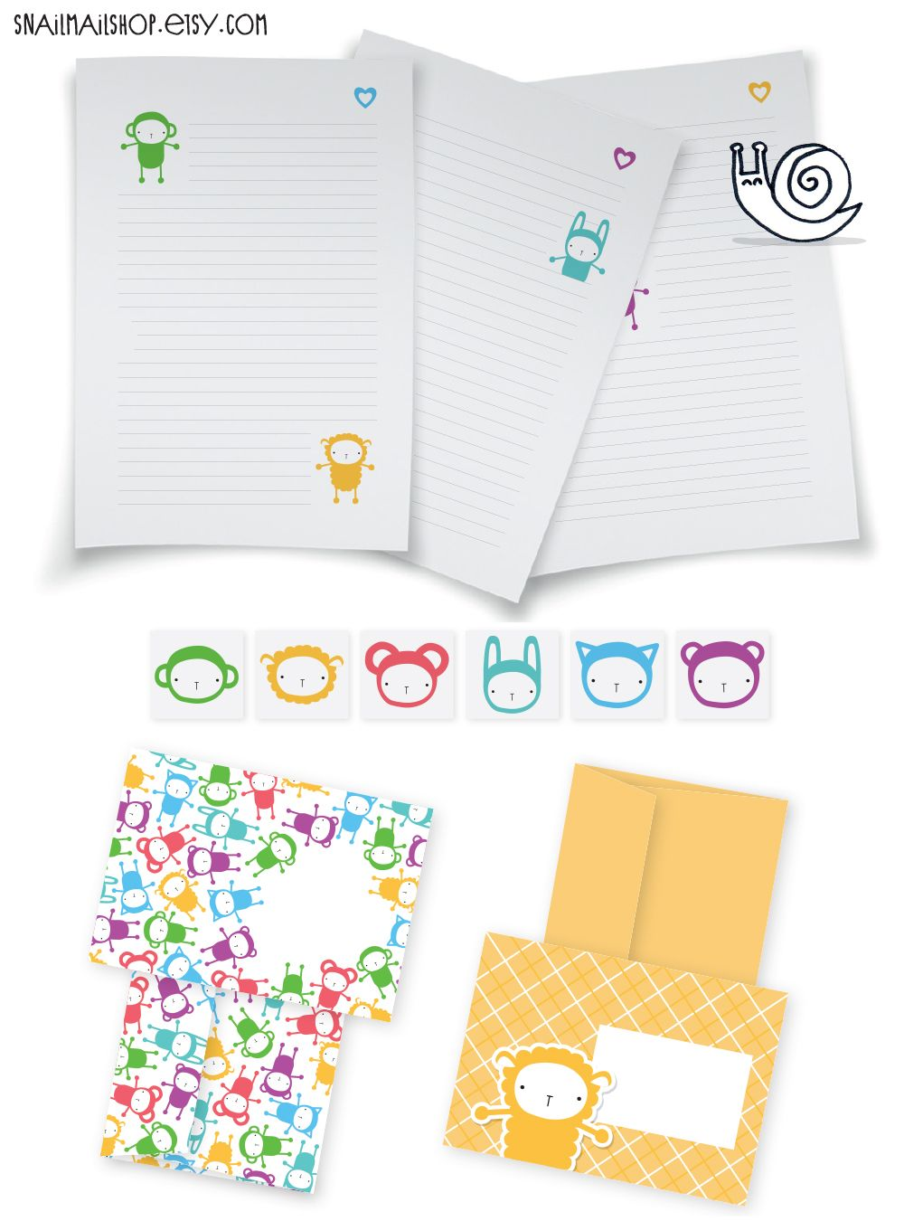 Animals Stationery-set with Writing Paper, Envelopes and Stickers for Snailmail (printable) https://www.etsy.com/listing/114386550/animals-stationery-set-with-writing