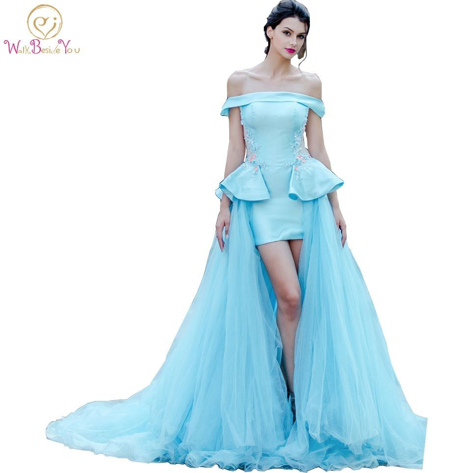 Walk beside you real picture pink blue evening dresses off the
