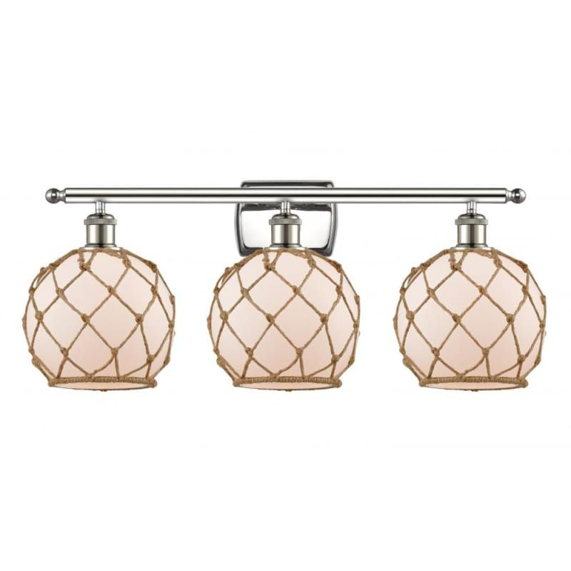 """Photo of Innovations Lighting 516-3W Farmhouse Rope Farmhouse Rope 3 Light 26 """"Wide Vanit Polished Nickel / White / Brown Interior Lighting Bathroom Faucets"""