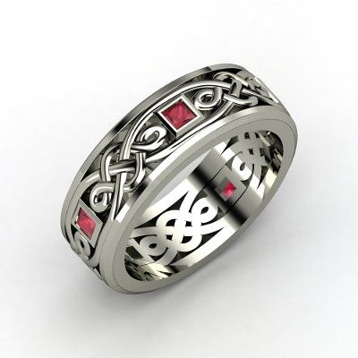 The Alhambra Knot Band #customizable #jewelry #ruby #silver #men's #ring