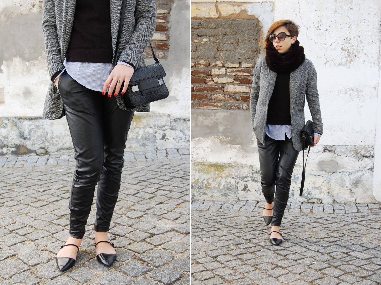 Women's Grey Wool Blazer, Black Turtleneck, White Dress Shirt, Black  Leather Skinny Pants