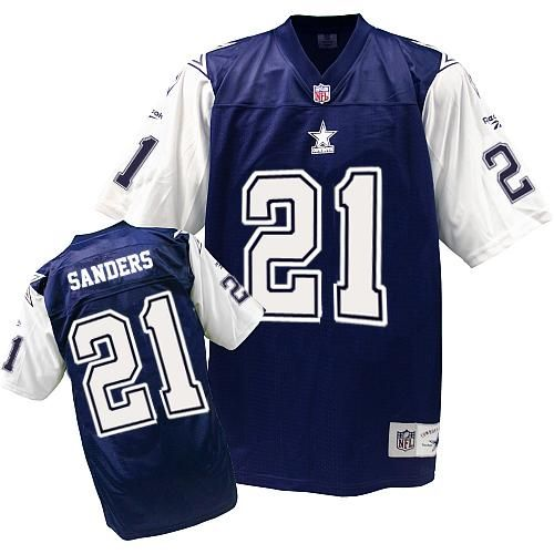 0d036484d50 Cheap Mitchell And Ness #21 Deion Sanders Authentic Navy Blue/White Throwback  NFL Dallas Cowboys Jersey free shipping