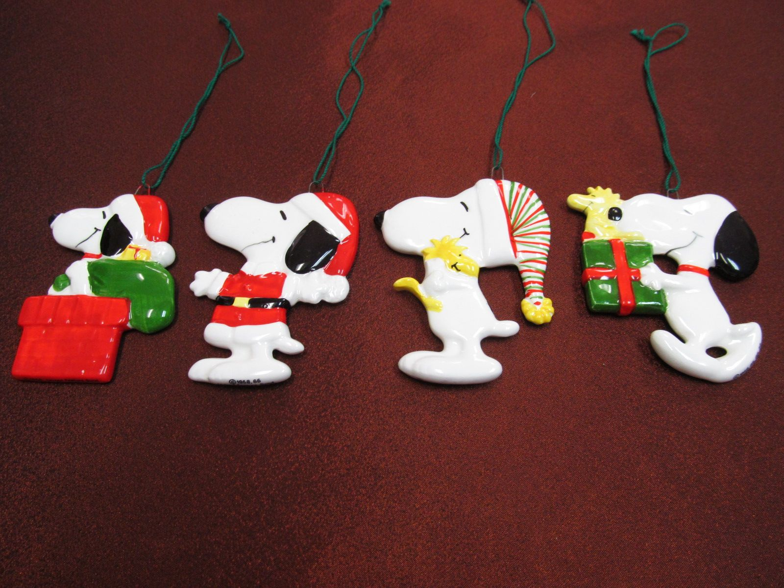 assorted old flat snoopy christmas ornaments at tons of treasures in laguna niguel
