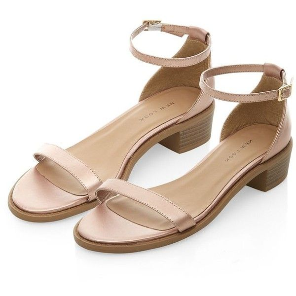 3c3fbe7afa9 Bronze Ankle Strap Low Block Heel Sandals (475 UAH) ❤ liked on Polyvore  featuring
