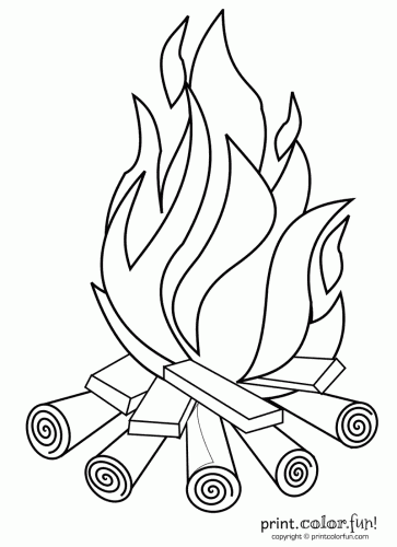 Campfire Print Color Fun Free printables coloring pages