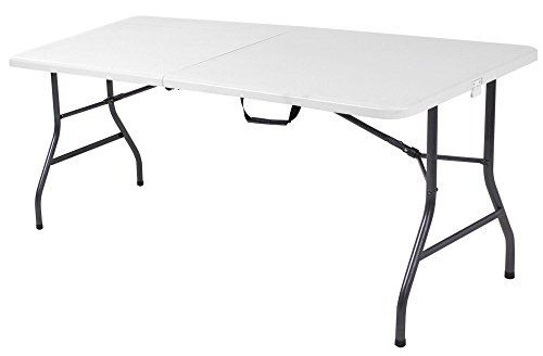 Cosco Products Centerfold Folding Table 6feet White Specked Pewter