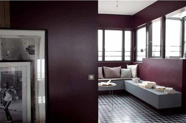 Peinture murale couleur prune ca compte pas pour des for Peinture murale salon couleurs