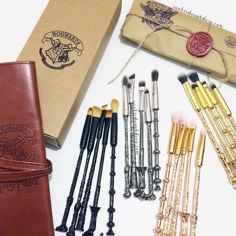 harry potter hogwarts inspired wand makeup brushes brush
