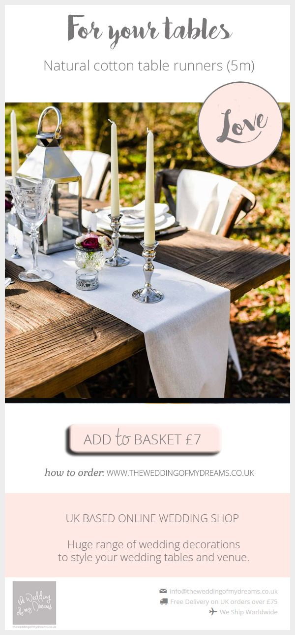 Natural Cotton Table Runners For Sale Wedding Decor Of The Week