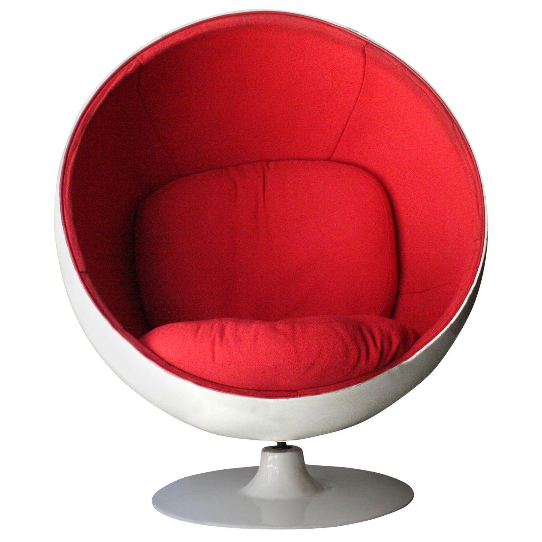 Eero aarnio midcentury modern ball chair white red
