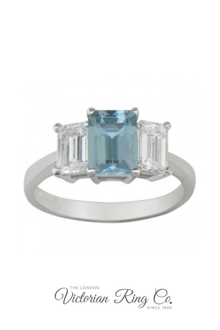 01ad3c462a4c6 Emerald Cut Aquamarine and Diamond Three Stone Engagement Ring in ...