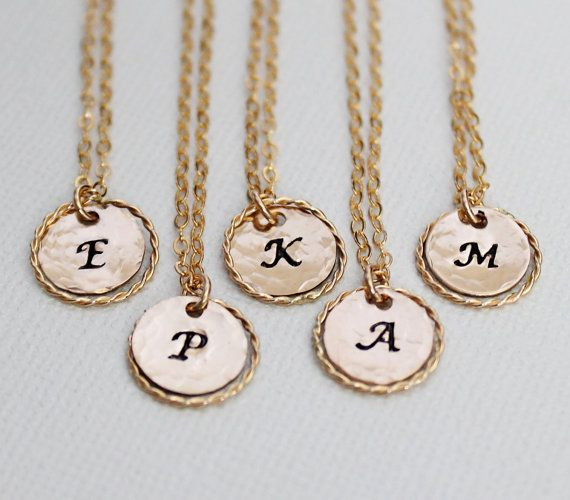 Set of 5 Bridesmaid Eternity Necklaces, Gold Initial Necklace with Gold Ring, Personalized Eternity Circle 119.00