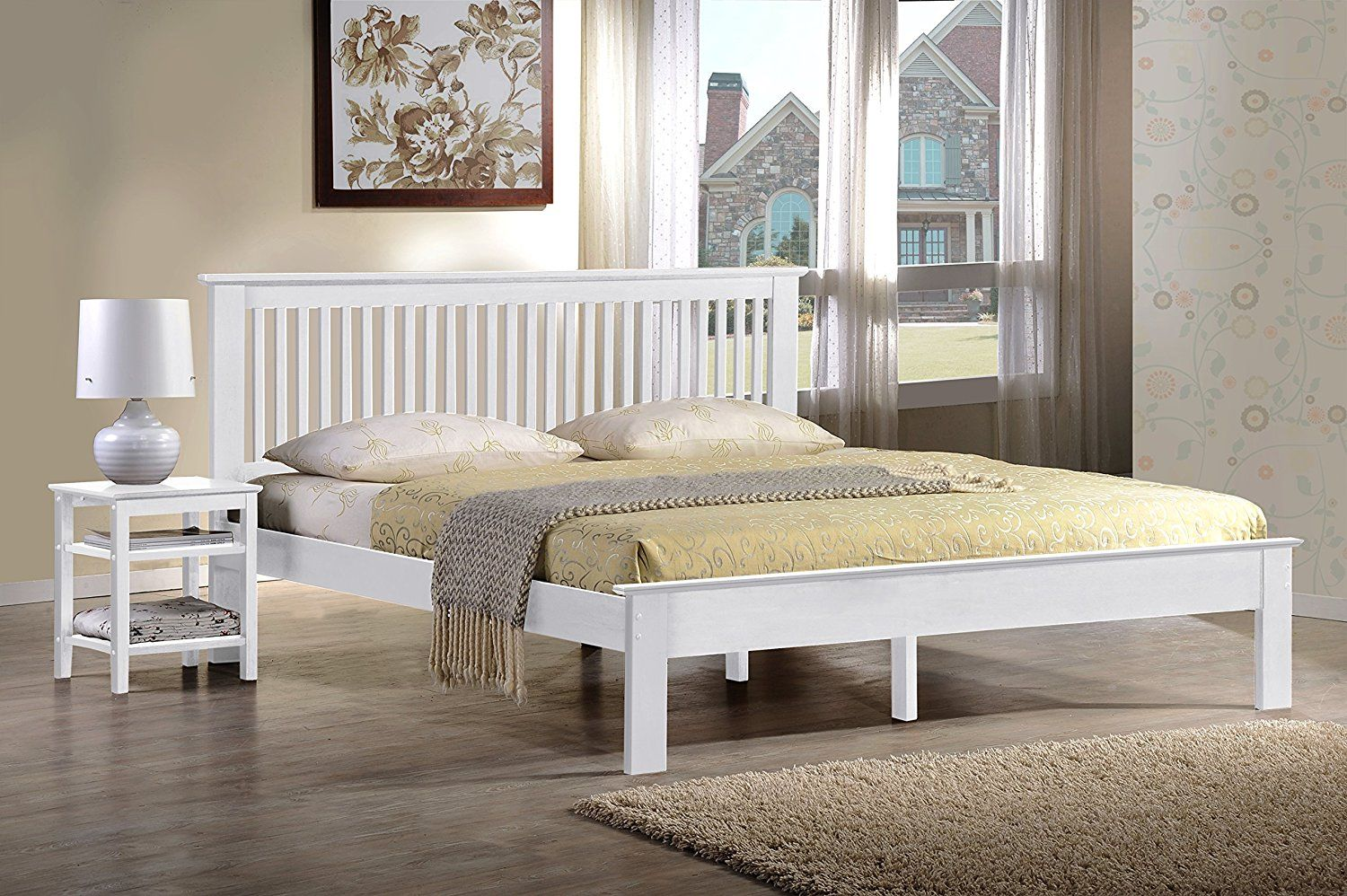 Windsor White Wooden Bed Frame Available In Double And Kingsize