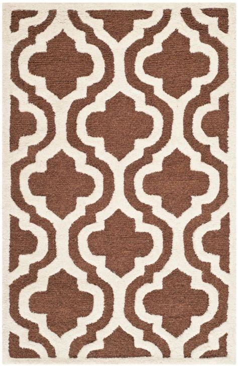 Cambridge Brenton Dark Brown Ivory 2 Ft 6 Inch X 4 Ft Indoor Area Rug Geometric Area Rug Tufted Wool Area Rugs
